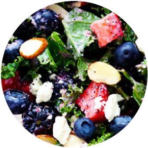 Triple Berry and Chicken Kale Salad with Creamy Strawberry Poppyseed Dressing