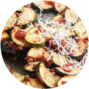 Pizza Roasted Zucchini with Sausage