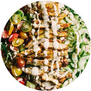 Shawarma Chicken Salad with Lemon Tahini Dressing