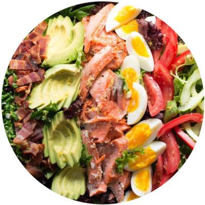 Salmon Cobb Salad with Lemon Basil Vinaigrette